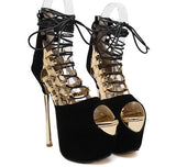 Open toe fashion Cross-tied lace up Platform gold/ silver High Heels