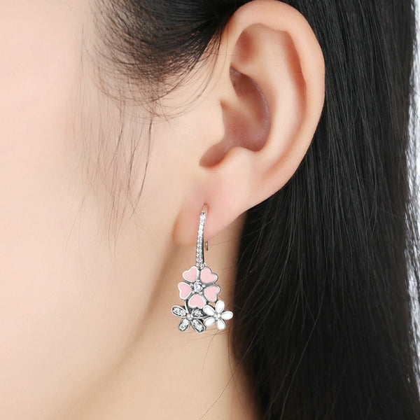 925 Sterling Silver Poetic Daisy Cherry Blossom Drop Earrings - ALLUNIK SHOP