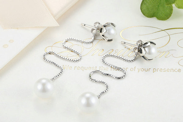 925 Sterling Silver Drop Earrings  With Imitation Pearl - ALLUNIK SHOP