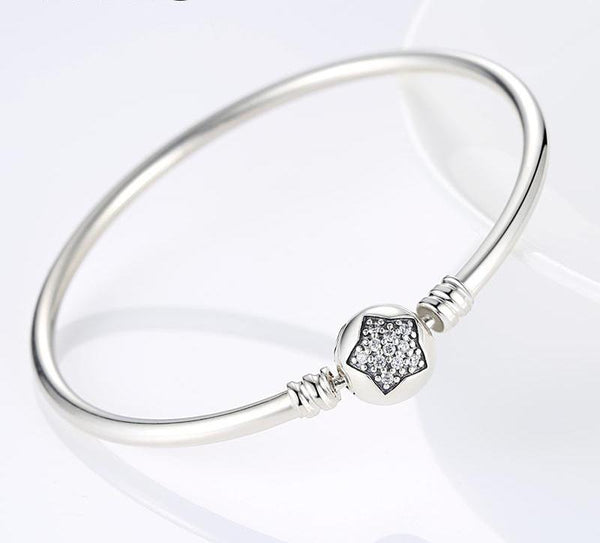 925 Sterling Silver Star Charm Bangle Bracelet - ALLUNIK SHOP