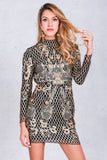 Mesh Backless gold sequin vintage floral plaid party dress