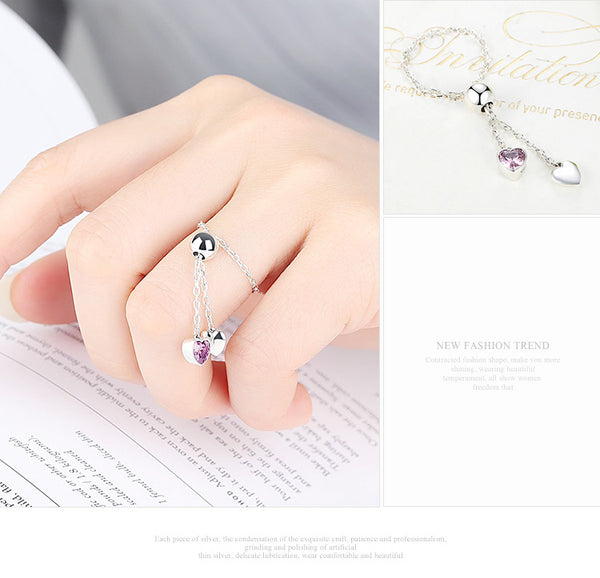 925 Sterling Silver hearts Adjustable Chain Ring - ALLUNIK SHOP
