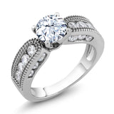 2.24 Ct Round Natural White Topaz & Zircon Vintage Ring