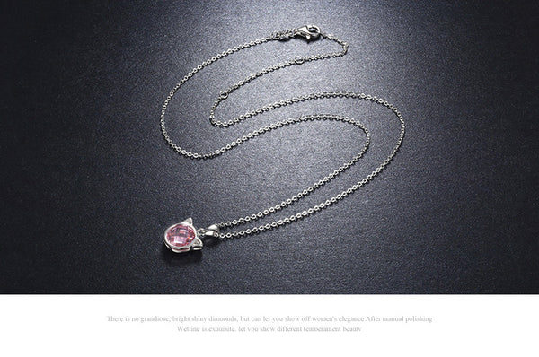 925 Sterling Silver Cute Cat Pink Crystal Necklaces - ALLUNIK SHOP