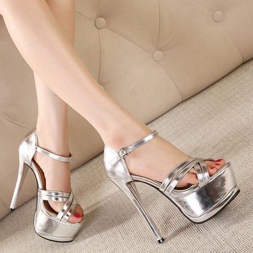 Gold buckle Tassels 16cm High Heel Peep Toe Platform pumps