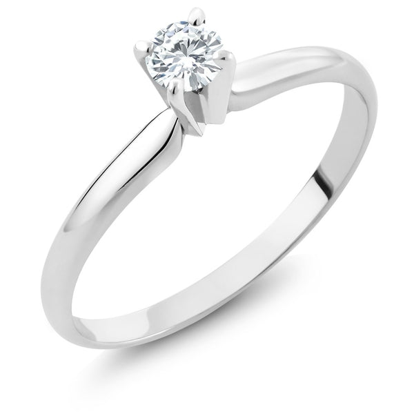 0.20 Ct Round Natural Diamond Solid 14K White Gold Solitaire Engagement Ring