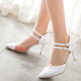 2 colours Ankle Straps Pointed Toe Heels - ALLUNIK SHOP