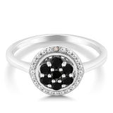 0.36 ct Round Natural Black and White Diamond 925 Sterling Silver Ring