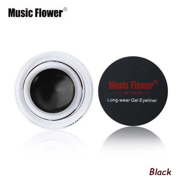 Music Flower Black Waterproof Eyeliner Gel With Brush - ALLUNIK SHOP