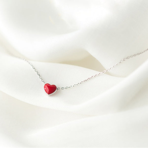 925 Sterling Silver Tiny Red Glaze Heart Necklace - ALLUNIK SHOP