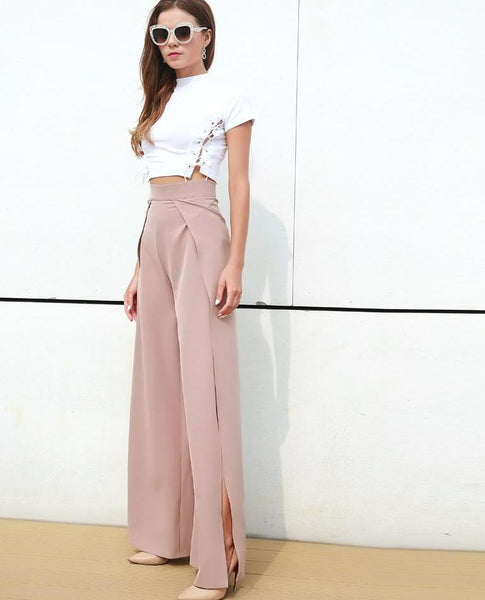 Two Split High Waist Solid Colour capri Pants