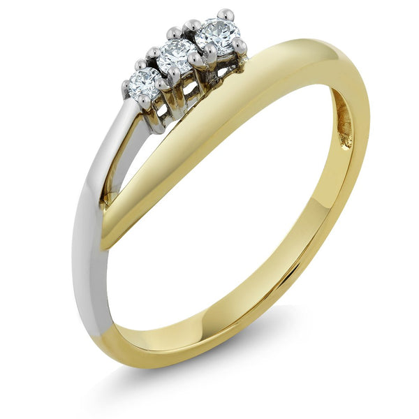 0.25 cttw Three Stone Diamond 14K Solid Yellow White Gold Ring