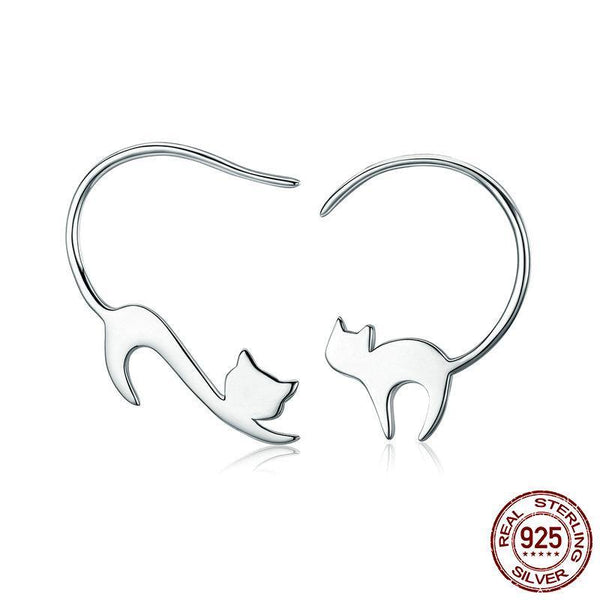 925 Sterling Silver Cute Cat Hook Earrings - ALLUNIK SHOP