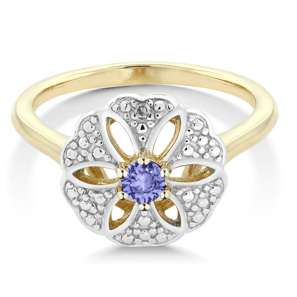0.12 ct Tanzanite & a diamond 18K Yellow Gold Plated Silver flower Ring