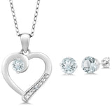 1.74 Ct Aquamarine and Accent Diamond 925 Sterling Silver Jewellery Set