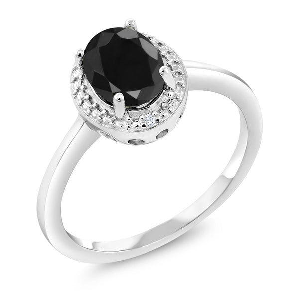 1.67 Ct Oval Natural Black Sapphire & Diamond 925 Sterling Silver Ring