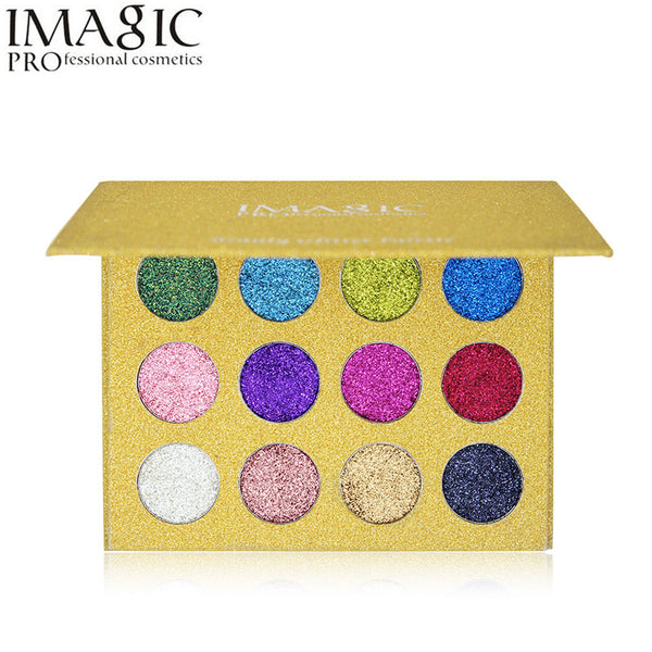 Imagic 12 Colours Highly Pigmented Glitter  Eyeshadow Palette - ALLUNIK SHOP