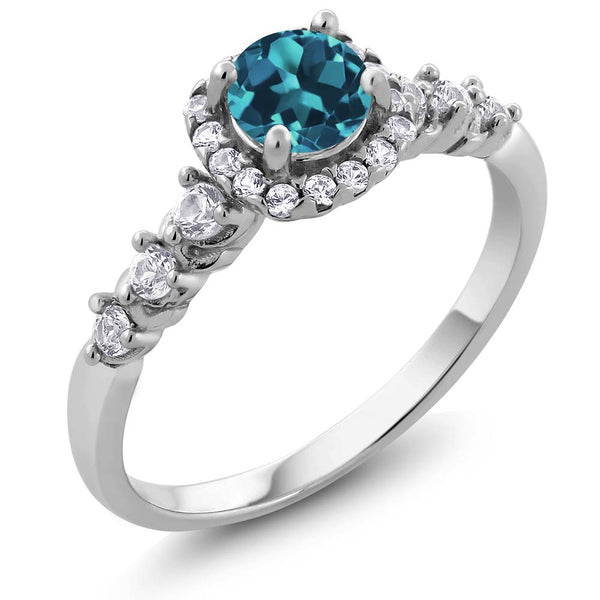 0.97 Ct Round Natural London Blue Topaz White Topaz Silver Ring