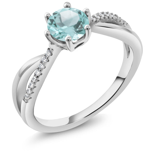 1.39 Ct Round Sky Blue Topaz 925 Sterling Silver Infinity Ring
