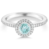0.69 Ct Round Natural Sky Blue Topaz & Swarovski Zircon Silver Ring