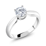 0.65 ct Round Created Moissanite 925 Sterling Silver Engagement Solitaire Ring
