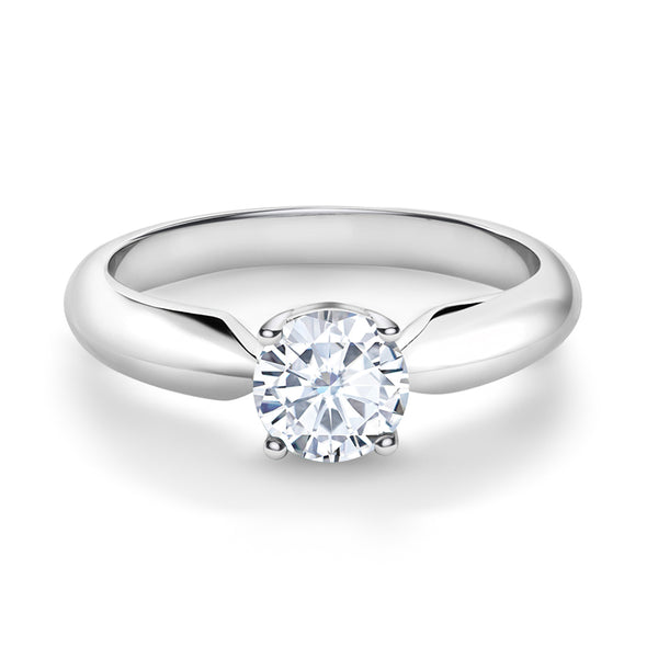 0.65 ct Round Created Moissanite 925 Sterling Silver Solitaire Ring