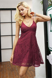 Elegant V neck strap lace Short dress