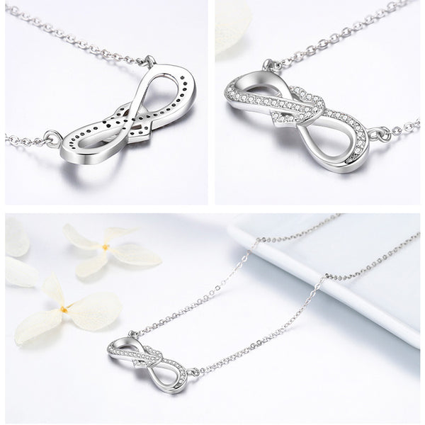 925 Sterling Silver Infinity Love Heart Knot Necklace - ALLUNIK SHOP