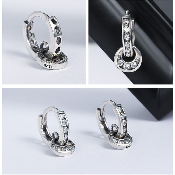 925 Sterling Silver Double Circle Dazzling CZ Round Earrings - ALLUNIK SHOP
