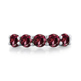 1.85 Ct Round Natural Red Rhodolite Garnet 925 Sterling Silver Ring