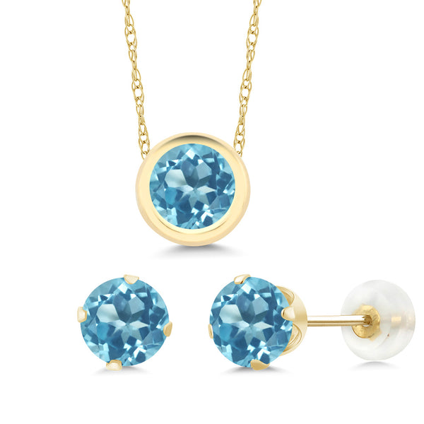 2.70 Ct Round Natural Blue Topaz 14K Yellow Gold Jewellery Set