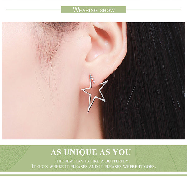 925 Sterling Silver Star Light Stud Earring - ALLUNIK SHOP