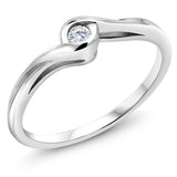 0.12 Ct Round Natural White Diamond Solid 18K White Gold Engagement Rings