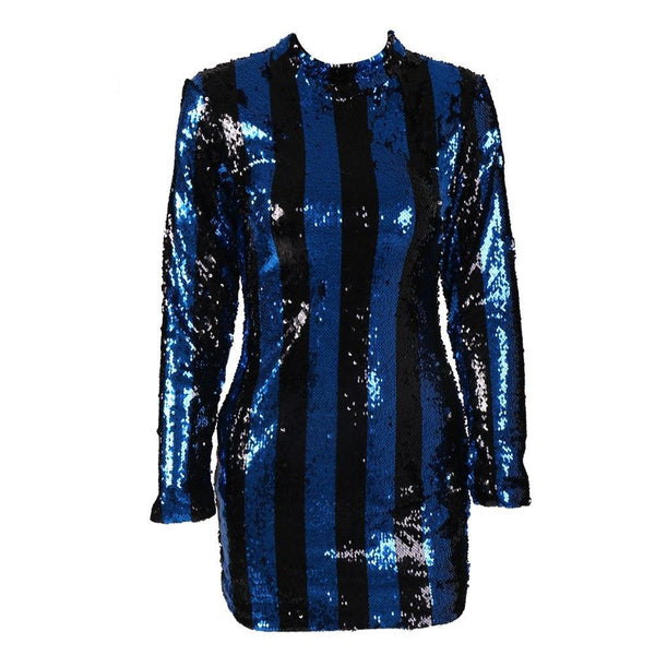 High Neck Long Sleeve Striped sequin party Dress