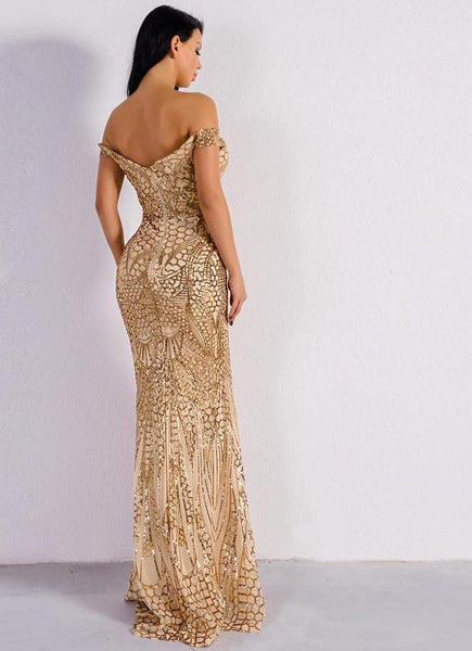 Off the shoulder gold sequin maxi party dress