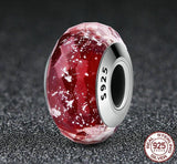 25 Sterling Silver Fascinating Red Murano Glass charm