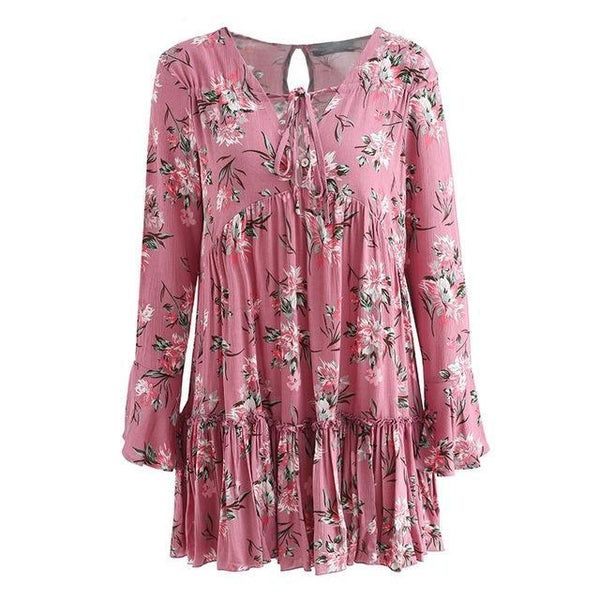 Lace up floral print Long sleeve ruffle loose short