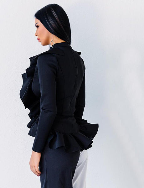 Deep V Long Sleeve Fold ruffles elegant blouse