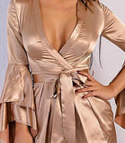 Deep V flare Sleeve gold/silver satin short jumpsuit
