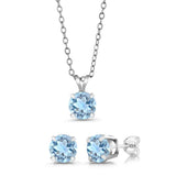 2.70 Ct Round 6mm Sky Blue Topaz 925 Sterling Silver Jewellery Set