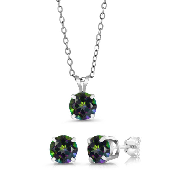 3.00 Ct Round 6mm Green Mystic Topaz 925 Sterling Silver Jewellery Set