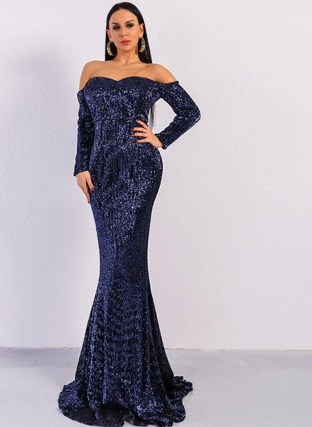 Long Sleeve Off Shoulder Sequin Backless Skinny Maxi Party Dress