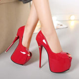 Peep toe Extreme platform 16cm high heel red black pumps