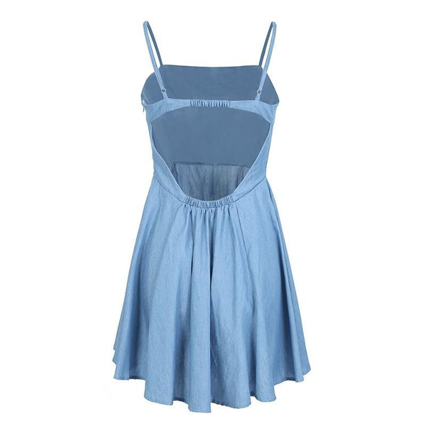 High waist elastic Backless casual strap mini blue/pink dress