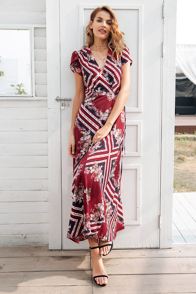 Boho print v neck wrap high waist long summer dress