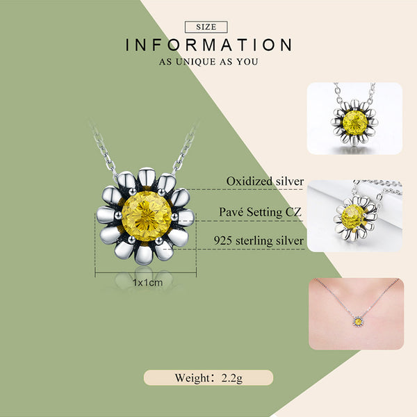 925 Sterling Silver Daisy Flower Yellow CZ t Necklace - ALLUNIK SHOP