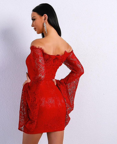 Slash Neck Off Shoulder Speaker Sleeve Mini Lace Party Dress