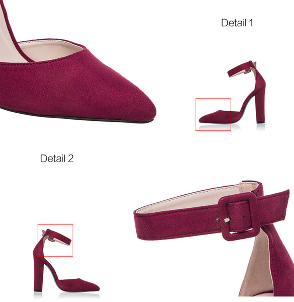 12CM Ankle Strap flock pointed toe Heels