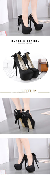 Elegant Bow Thin Heel 16cm High Heel Pumps