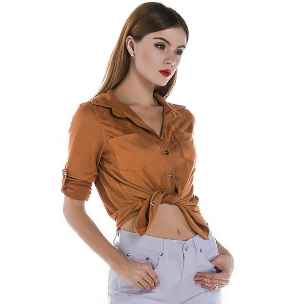 Long sleeve button velour shirt